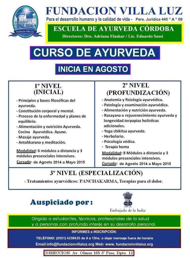 AFICHE CURSO AYURVEDA 2014-15
